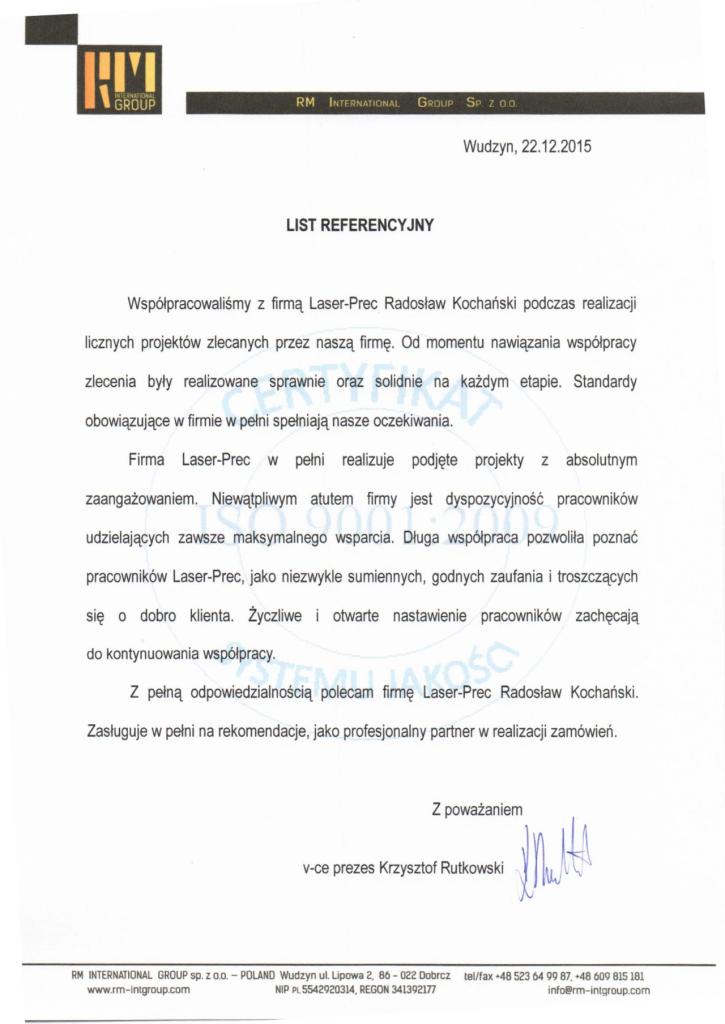 list referencyjny RM
