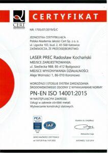 Certyfikat PN-EN ISO 14001:2015